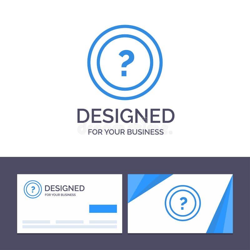 Kreative Visitenkarte- und Logoschablone ungefähr, bitten, Informationen, Frage, Stützvektor-Illustration stock abbildung
