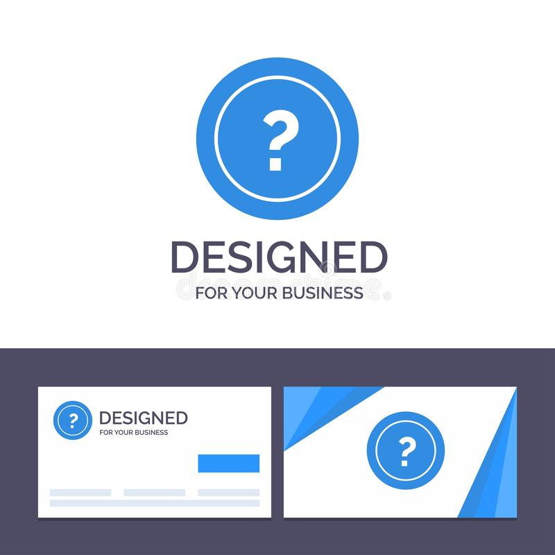 Kreative Visitenkarte- und Logoschablone ungefähr, bitten, Informationen, Frage, Stützvektor-Illustration lizenzfreie abbildung