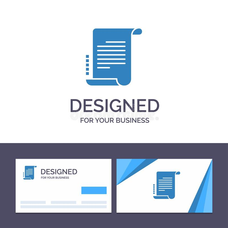 Kreative Visitenkarte- und Logoschablone Verordnung, Roman, Szenario, Drehbuch-Vektor-Illustration stock abbildung