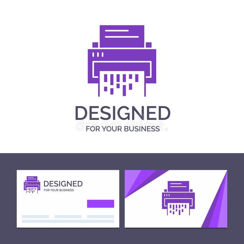 Kreative Visitenkarte- und Logoschablone vertraulich, Daten, Löschung, Dokument, Datei, Informationen, Reißwolf-Vektor-Illustrati stock abbildung