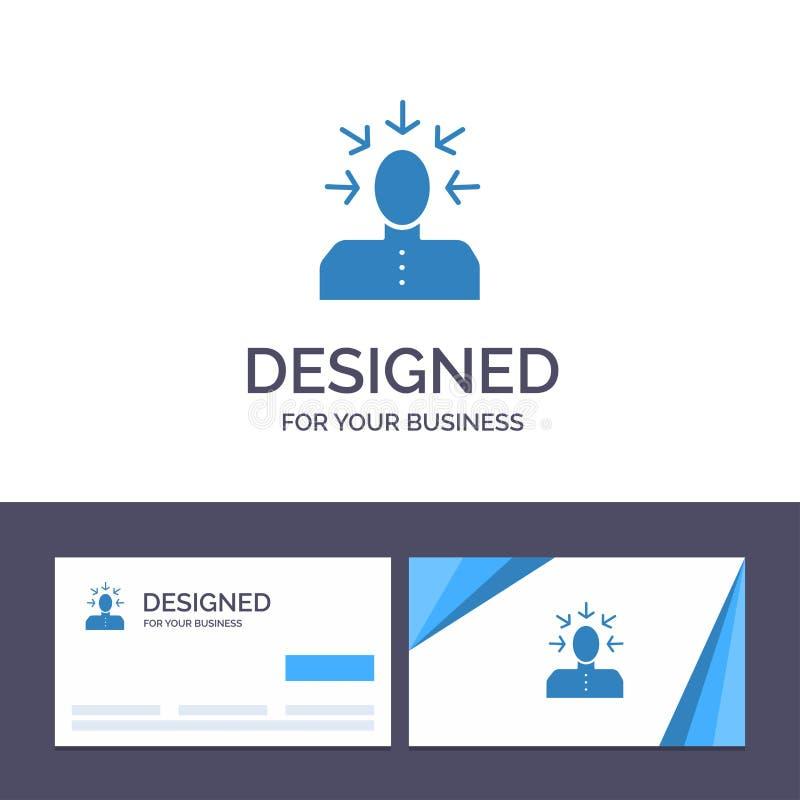 Kreative Visitenkarte- und Logoschablone Wahl, wählend, Kritik, menschlich, Personen-Vektor-Illustration lizenzfreie abbildung