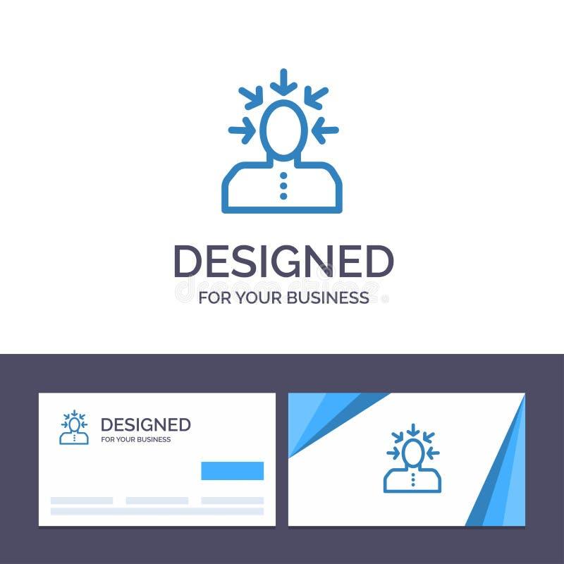 Kreative Visitenkarte- und Logoschablone Wahl, wählend, Kritik, menschlich, Personen-Vektor-Illustration stock abbildung