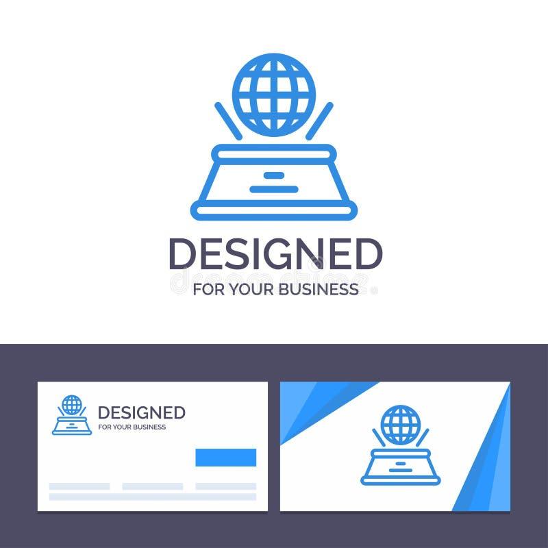 Kreative Visitenkarte- und Logoschablone Welt, Hologramm, Fantasie, Darstellungs-Vektor-Illustration vektor abbildung