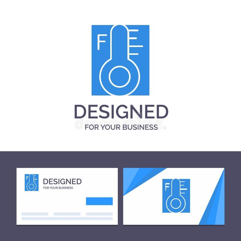 Kreative Visitenkarte- und Logoschablone Wolke, hell, regnerisch, Sun, Temperatur-Vektor-Illustration lizenzfreie abbildung
