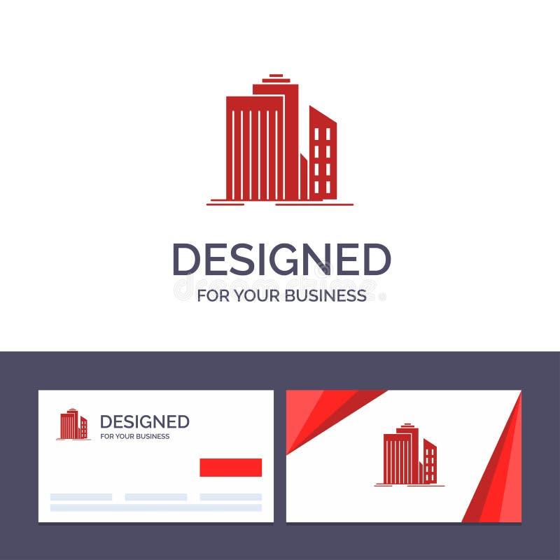 Kreative Visitenkarte- und Logoschablone Wolkenkratzer, Architektur, Gebäude, Geschäft, Büro, Real Estate-Vektor-Illustration lizenzfreie abbildung