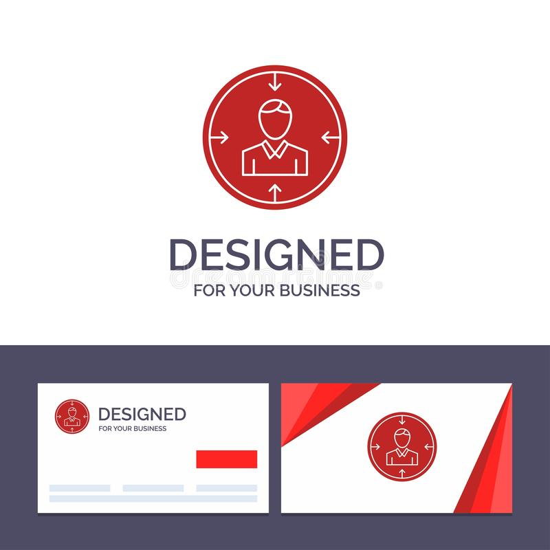 Kreative Visitenkarte- und Logoschablone Ziel, Angestellter, Stunde, Jagd, persönlich, Betriebsmittel, Zusammenfassungs-Vektor-Il stock abbildung