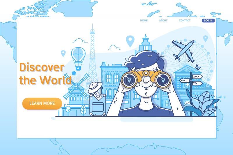 Kreative Websiteschablone von Discover die Welt Weltweit reisend, Zeit zu reisen vektor abbildung