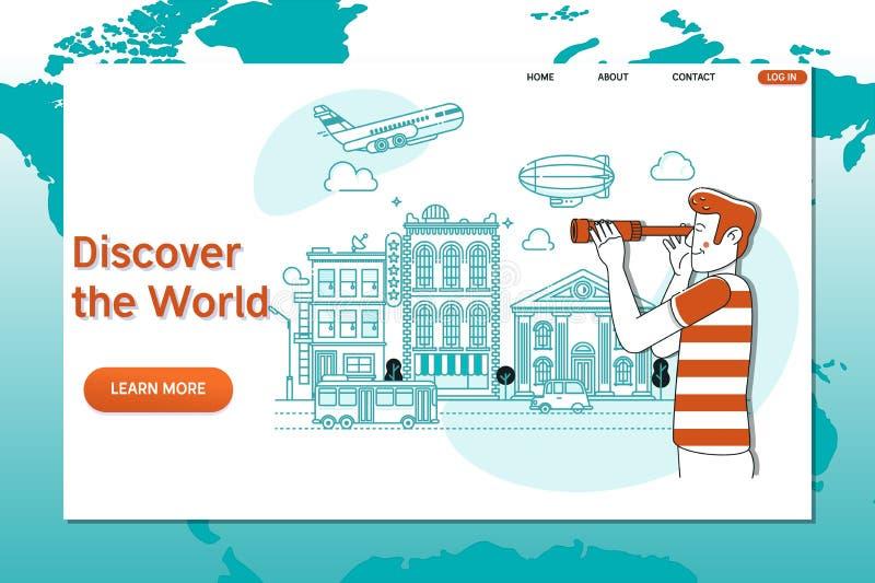 Kreative Websiteschablone von Discover die Welt Weltweit reisend, Zeit zu reisen lizenzfreie abbildung
