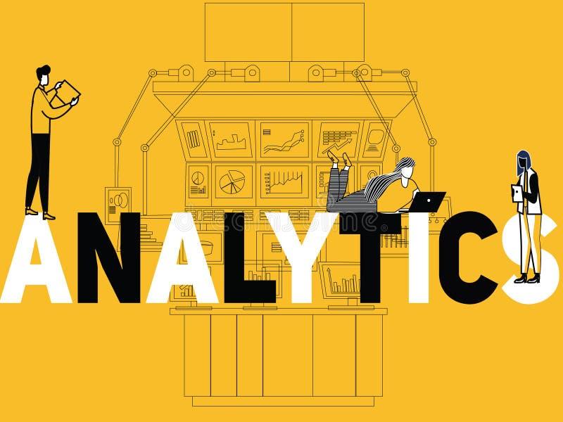 Kreative Wortkonzept Analytik und Leute, die mehrfache Tätigkeiten tun lizenzfreie abbildung