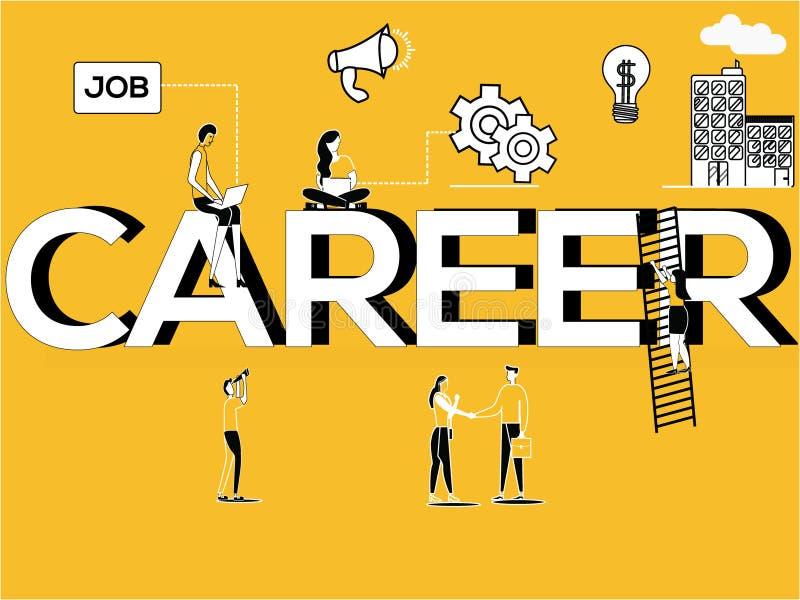 Kreative Wortkonzept Karriere und Leute, die tätigkeitsbezogene Tätigkeiten tun lizenzfreie abbildung