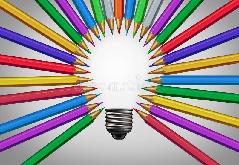 Kreative zufriedene Konzept-Ideen-Gesch?ftserfolg-Metapher stock abbildung