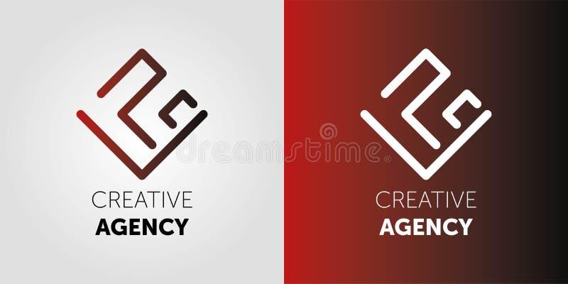 Kreativer Agenturlogoentwurf Abstraktes vetor Logo Zeichen f?r Gesch?ft, Internet-Kommunikationsfirma, digitale Agentur, Marketin stock abbildung