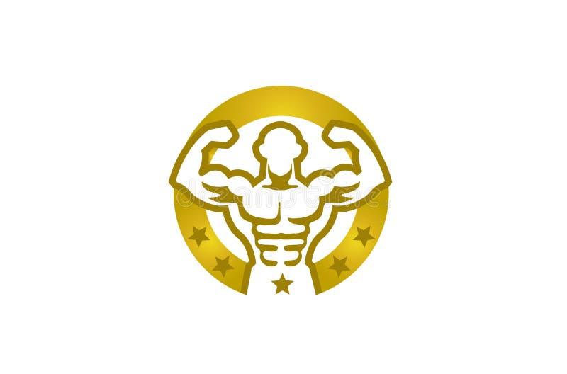 Kreativer Bodybuilder-goldener Kreis spielt Logo die Hauptrolle vektor abbildung