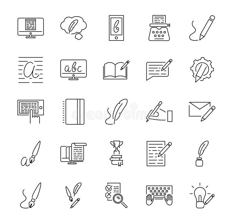 Kreativer copywriting Vektorillustrationsikonen-Sammlungssatz Umrissene grundlegende Elemente, das Marketing und Werbung darstell stock abbildung