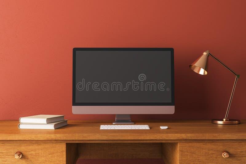 Kreativer Designerdesktop mit Computer lizenzfreie stockfotos