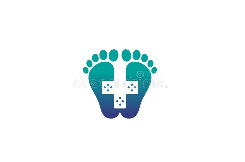 Kreativer Fuß medizinischer Logo Design Vector Symbol Illustration stock abbildung