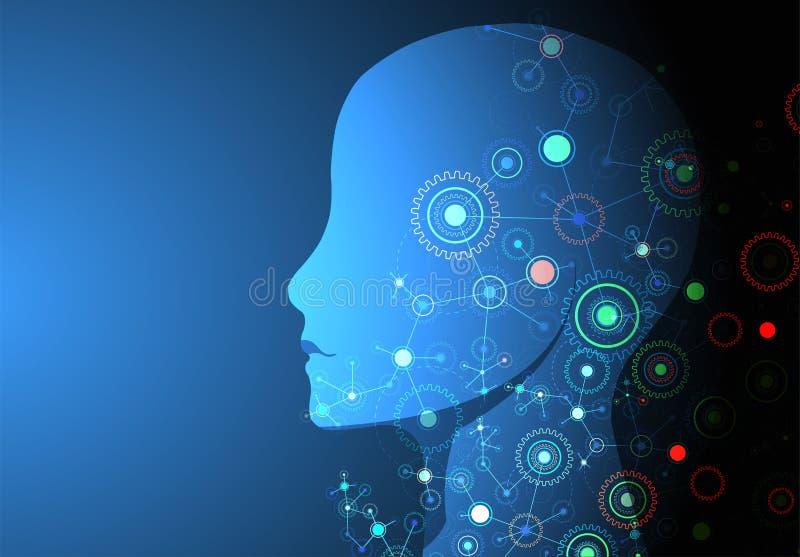 Kreativer Gehirnkonzepthintergrund Künstliche Intelligenz conce lizenzfreie abbildung