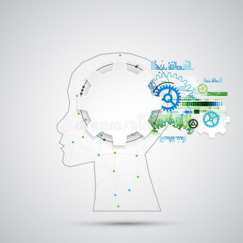 Kreativer Gehirnkonzepthintergrund mit dreieckigem Gitter Artifici vektor abbildung