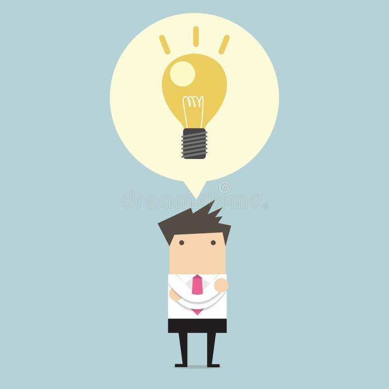 Kreativer Geschäftsmann erhalten die Idee unter einer Glühlampe lizenzfreie abbildung