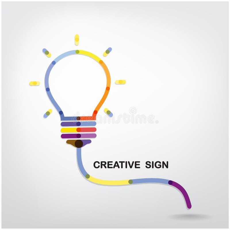Kreativer Glühlampe Ideenkonzepthintergrund lizenzfreie abbildung