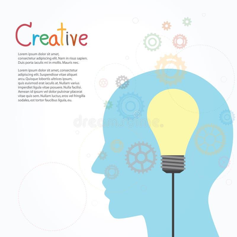 Kreativer Glühlampe- und Gangvektor entwerfen Fahnenschablone lizenzfreie abbildung