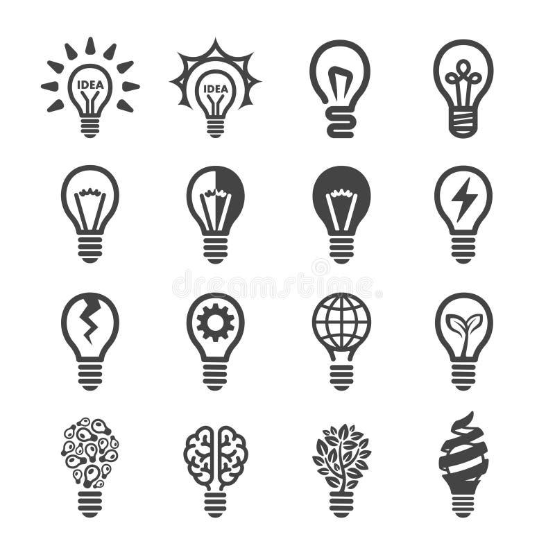 Kreativer Glühlampeikonensatz lizenzfreie abbildung