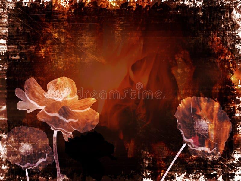 Kreativer grungy Hintergrund mit Blumen vektor abbildung