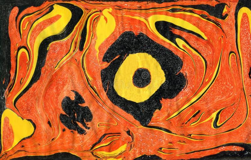 Kreativer Hintergrund der abstrakten Kunst in den orange, gelben und schwarzen Farben lizenzfreie abbildung