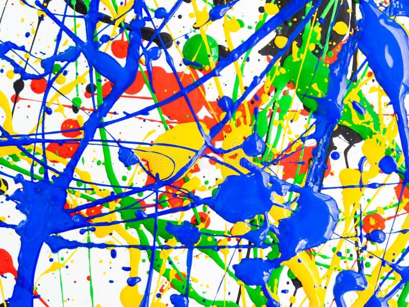 Kreativer Hintergrund der Kunst des abstrakten Expressionismus Kunst von spritzt und tropft rote schwarze grüne gelbe blaue Farbe lizenzfreie stockfotos