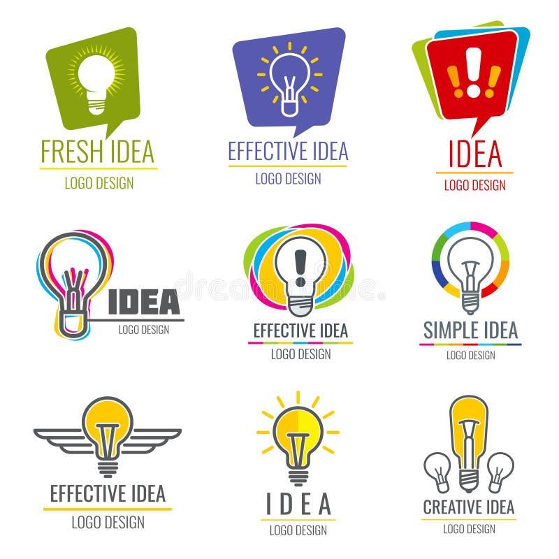 Kreativer Ideenvektorgeschäfts-Logosatz stock abbildung