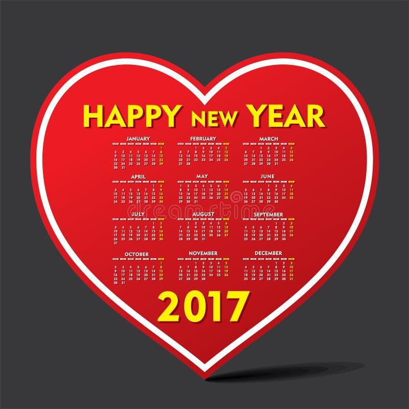Kreativer Kalender des neuen Jahres für 2017 vektor abbildung