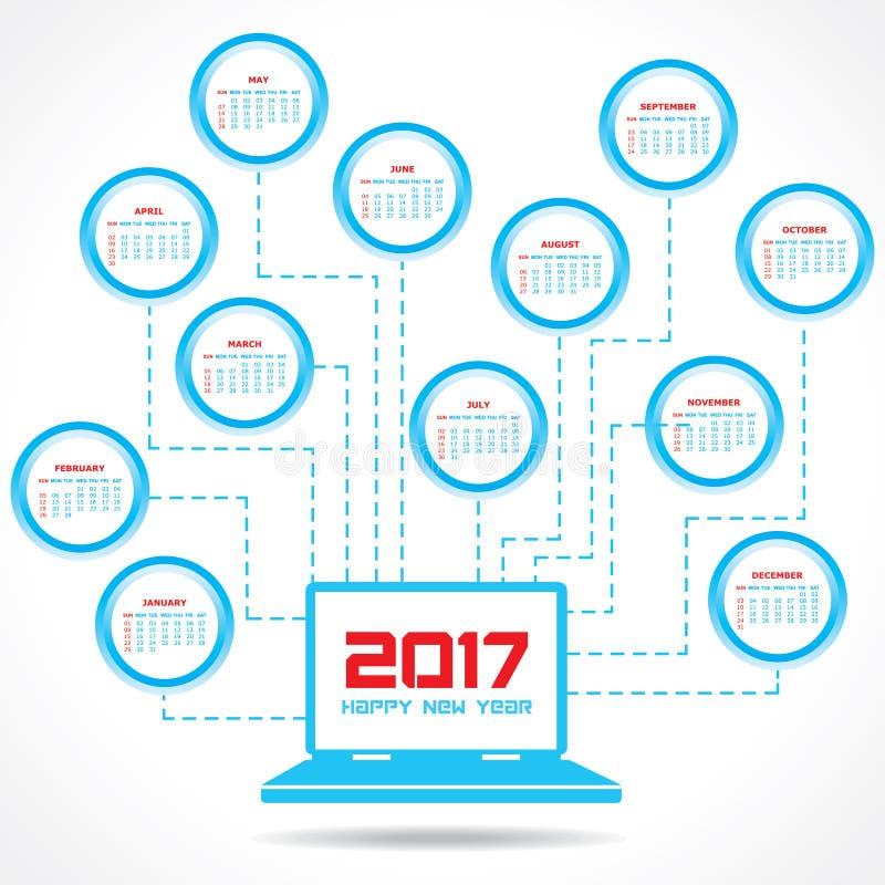 Kreativer Kalender des neuen Jahres für 2017 stock abbildung