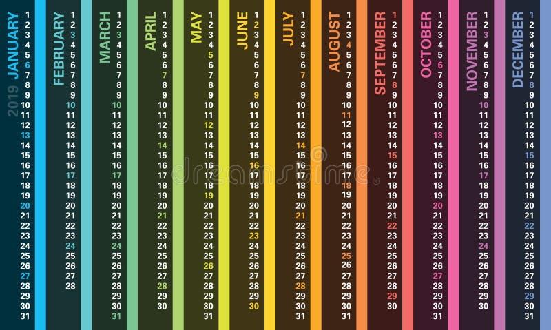 Kreativer Kalender 2019 mit Regenbogenentwurf, Sonntags-Feiertage lizenzfreie abbildung