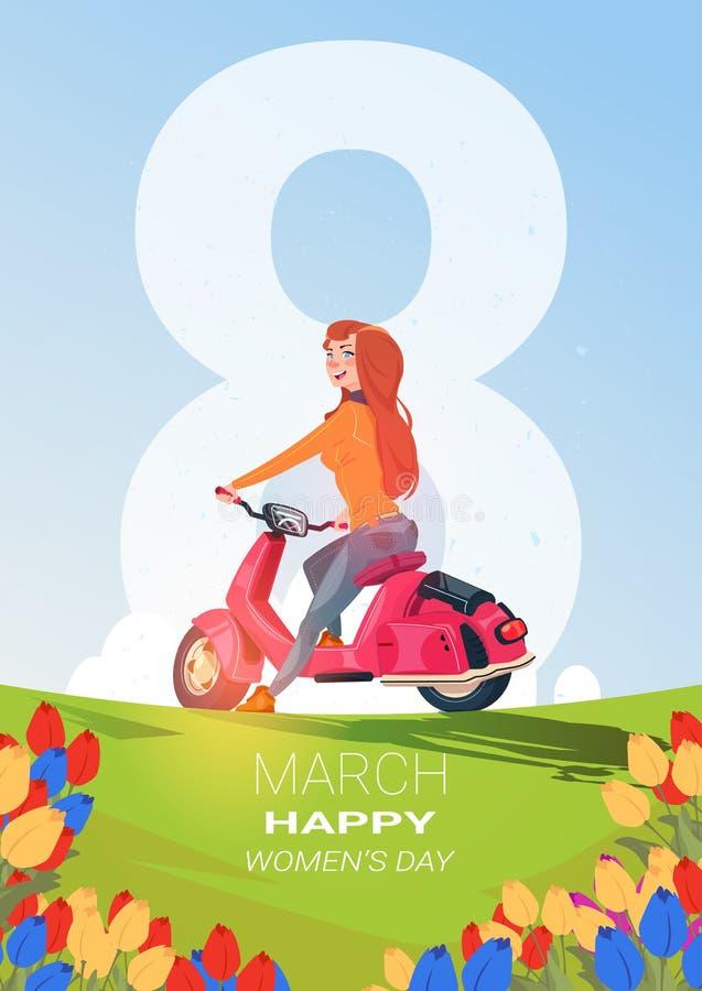 Kreativer am 8. März Gruß-Karten-glücklicher internationaler Frauen-Tag Backgrlound mit schönem Mädchen auf Roller lizenzfreie abbildung