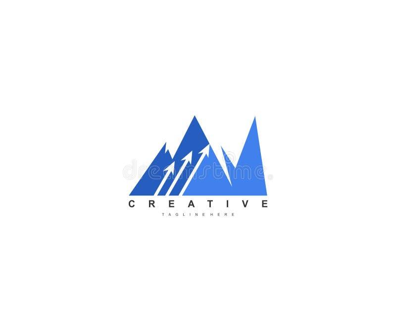 Kreativer moderner Berg mit drei Pfeil Logo Design stock abbildung
