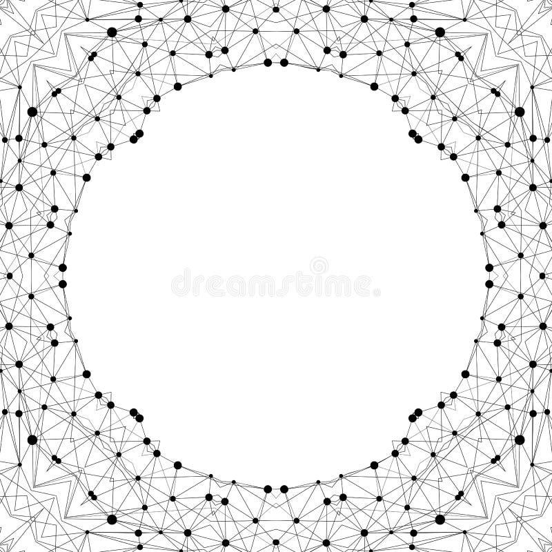 Kreativer polygonaler Hintergrund Moderner Rahmen im geometrischen Stil gemacht von verbundenen Punkten und von Linien vektor abbildung