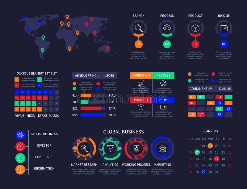Kreativer Prozess der Infographic-Diagrammanalysearmaturenbrett-Dateninformations-Diagrammweltkarte hud Benutzerschnittstellen-Ge stock abbildung