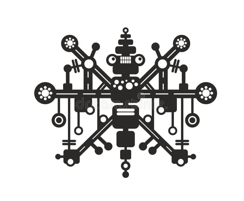 Kreativer Roboterdruck für T-Shirt, Aufkleber oder Wandkunst lizenzfreie abbildung