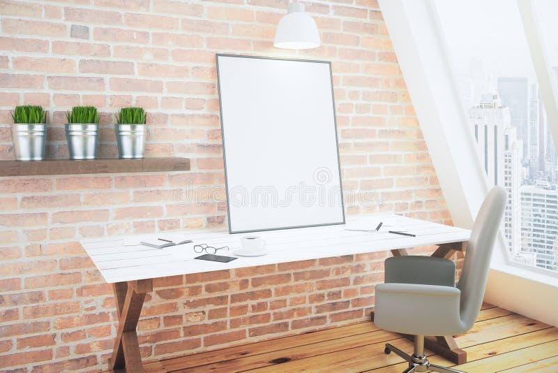 Kreativer Schreibtisch mit leerem Bilderrahmen vektor abbildung