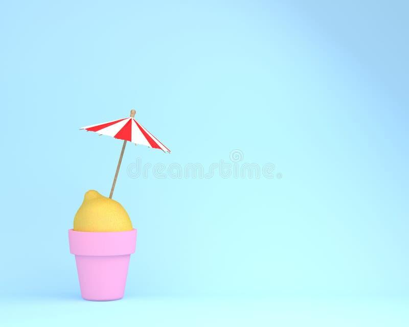 Kreativer Sommerplan gemacht von der Zitrone mit Blumentopf und Sonne umbr lizenzfreies stockfoto