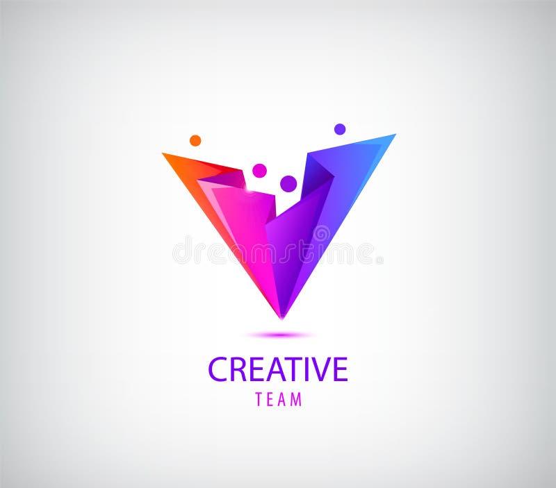 Kreativer Team Logo Bunte abstrakte Leute, facettiertes Origamidesign Vector menschliches Logo, Ikone oder Emblemschablone lizenzfreie abbildung
