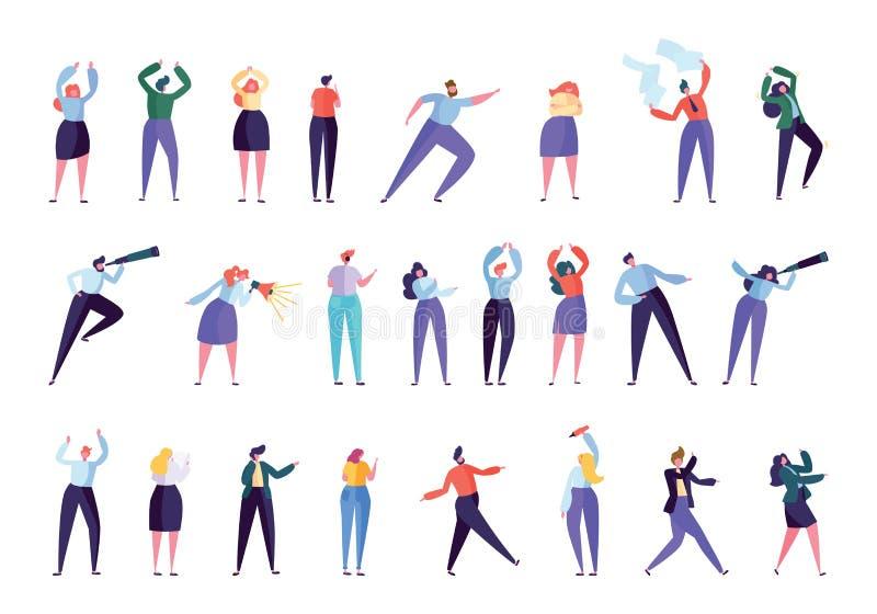 Kreativer vermarktender Agentur-Leute-Zeichensatz Geschäftsmann Work als Team Isolated Verschiedene Gesten-Geschäftsfrau stock abbildung