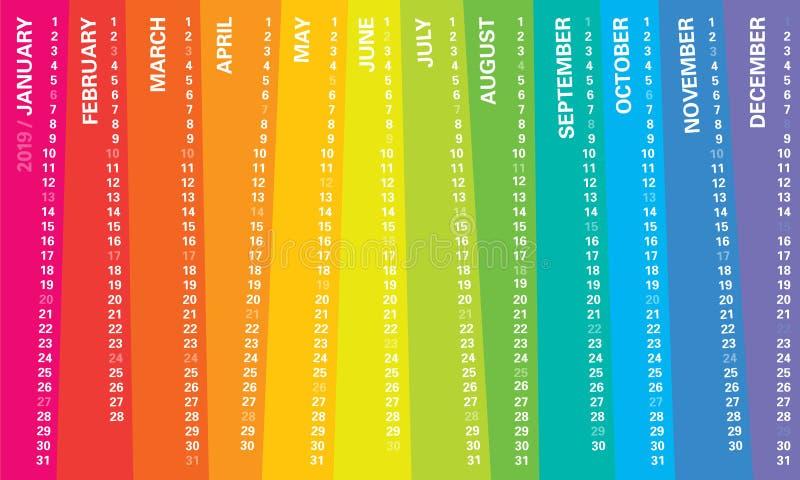Kreativer Wandkalender 2019 mit unregelmäßigem vertikalem Regenbogenentwurf, Sonntage wählte, englische Sprache vor stock abbildung