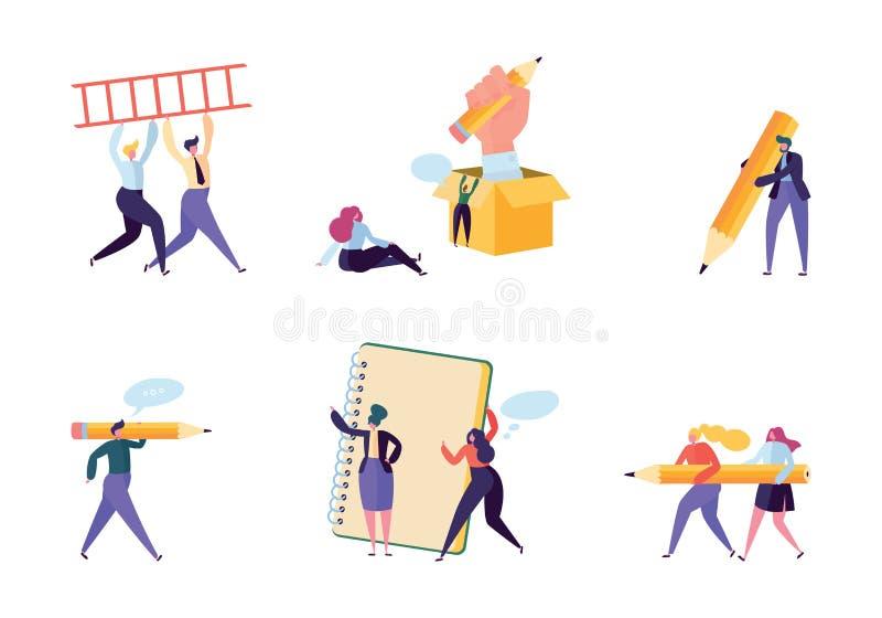 Kreativer Werbetexter-People Business Character-Satz Verfasser Team Draw Pencil im Notizbuch Hippie-Freiberufler-Angestellter stock abbildung