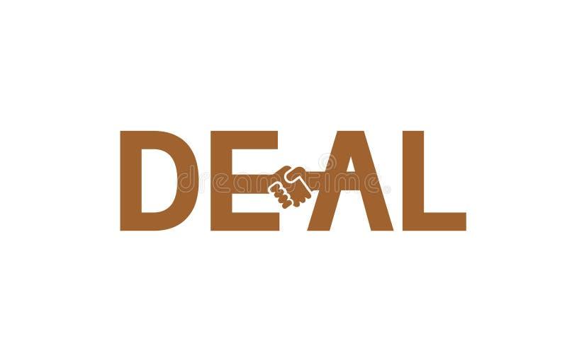 Kreatives Abkommen-Händedruck-Typografie-Buchstabe-Logo stock abbildung