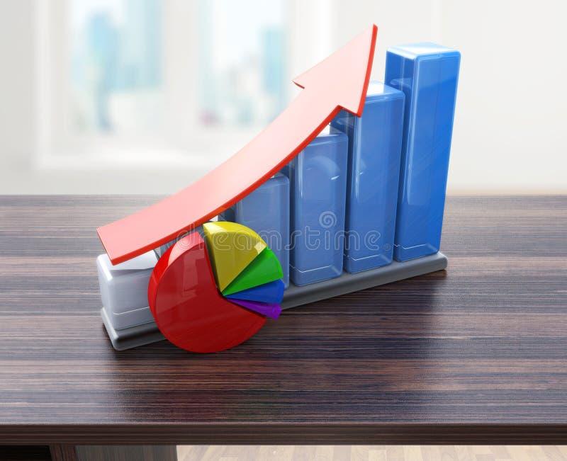 Kreatives abstraktes Geschäftserfolg, Finanzwachstum und Entwicklungskonzept: färben Sie wachsende Balkendiagramme mit rotem stei stock abbildung
