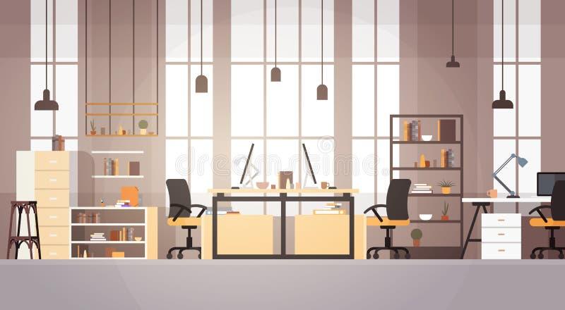Kreatives Büro, das Mitteluniversitätsgelände-modernen Arbeitsplatz Mit-arbeitet vektor abbildung