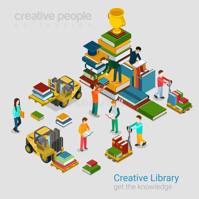 Kreatives Bibliotheksbildungswissen bucht flaches isometrisches 3d stock abbildung