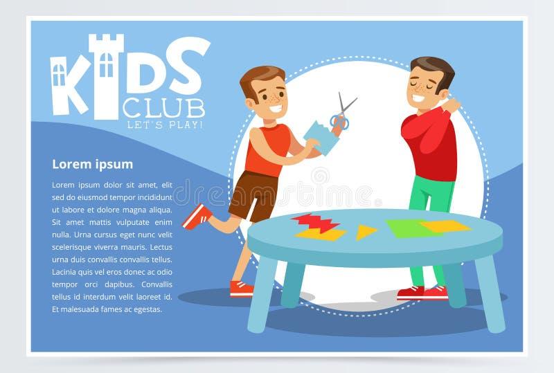 Kreatives blaues Plakat für Kinder schlagen mit den glücklichen Jungencharakteren mit einer keule, die Applikation machen Klasse  stock abbildung