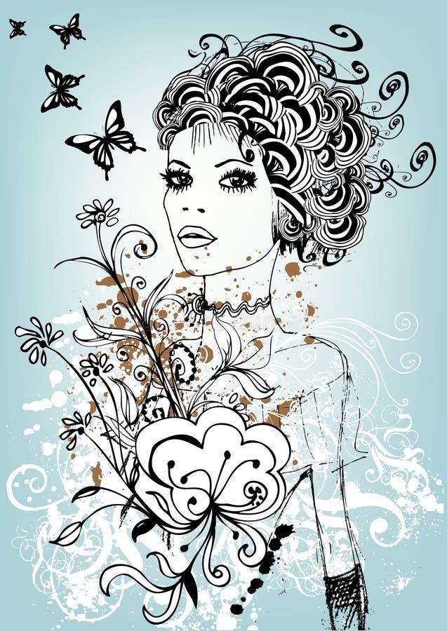 Kreatives Blumenmädchen lizenzfreie abbildung
